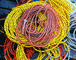Close-up of Colorful Lobster Buoy Lines on Pier, Criehaven Harbor, Ragged Island