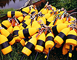 Close-up of Yellow, Orange and Black Lobster Buoys, Lunt Harbor, Long Island