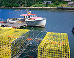Close-up of Lobster Traps and Lobster Boat and in Lunt Harbor, Long Island