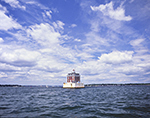 New London Ledge Light under Blue Skies and White Clouds, Long Island Sound