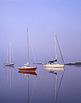 Sailboats in Fog with Clear Reflections in Glass-like Water, Connecticut River