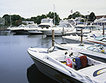 Power Boats at Townsend Manor Marina, Stirling Harbor, Long Island, Village of Greenport