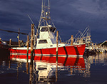 Red Sports Fishing Boat at Dock under Dark Storm Clouds, Star Island Yacht Club, Montauk Harbor, Long Island, Village of Montauk