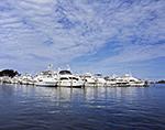 Power Boats at Dock, Montauk Yacht Club, Montauk Harbor, Long Island, Village of Montauk, East Hampton, NY
