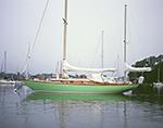 "Sailing Yawl ""Yumi"" under Gray Skies in Stirling Harbor, Long Island, Village of Greenport"