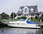 Motor Boat and Waterfront Home, Gull Pond, Long Island