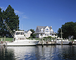Sports Fishing Boats and Waterfront Home, Gull Pond, Long Island