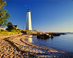 Early Evening Light on Five Mile Point Lighthouse and Beach,  Lighthouse Point Park