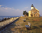 Sheffield Island Light with Seaside Benches, Long Island Sound, Norwalk Islands