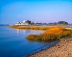 View from Sheffield Island of Homes on Little Hammock Island, Stewart B. McKinney National Wildlife Refuge, Norwalk Islands, Norwalk, CT