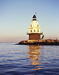 Southwest Ledge Light with Reflections, New Haven Breakwater
