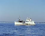Shell Fishing Boat off Point Beach, Long Island Sound