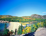Sand Beach and The Beehive in Fall, View from Cliffs on Great Head, Acadia National Park, Mt. Desert Island