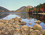 """View of The Bubbles in Fall from Jordan Pond with """"Ringed"""" Rocks in Foreground, Acadia National Park, Mt. Desert Island"""