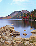 View of The Bubbles in Fall from Jordan Pond with Rocks in Foreground, Acadia National Park, Mt. Desert Island