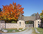 Stone Brown Mountain Gatehouse with Sugar Maple in Fall Foliage, Acadia National Park, Mt. Desert Island