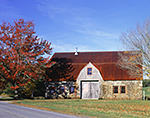 Red Maple and Stone Barn in Fall, Stone Barn Farm, National Register of Historic Places, Mt. Desert Island