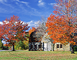 Red Maples and Stone Barn in Fall with Blue Sky and Cumulus Clouds, Stone Barn Farm, National Register of Historic Places, Mt. Desert Island