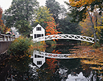 Selectmen's Building (1780) and Thaddeus Shepley Somes Memorial Bridge (1981) with Reflections in Fall, Mt. Desert Island