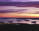 Porcupine Islands and Bar Harbor at Predawn, View from Cadillac Mountain, Acadia National Park, Mt. Desert Island