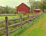 Wooden Fence and Red Farm in the Berkshires