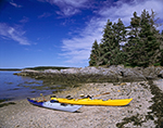 Kayaks on Shoreline of Black Island, Muscongus Bay and Mid-Coast Region