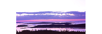 Predawn View from Top of Pigeon Hill across Pigeon Hill Bay and Various Islands out to Pleasant Bay