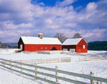 Red Barns and White Fences in Winter under Clearing Skies, Sweet Tree Farm