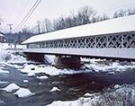Ashuelot Covered Bridge over Ashuelot River in Winter, Built in 1864, Village of Ashuelot
