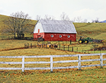 Red Barn with Fences and Tractor on Virginia Farm, Rockfish Valley