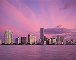 Miami Skyline and Biscayne Bay at Sunrise from Rickenbacker Causeway