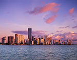 Miami Skyline and Biscayne Bay in Early Morning Light, Rickenbacker Causeway