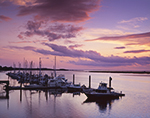 Sunset over Boats at Jekyll Harbor Marina, Jekyll River, Intracoastal Waterway