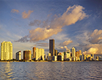 Early Morning Sun Lights up Miami Skyline and Biscayne Bay, View from Rickenbacker Causeway