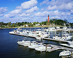 View of Jupiter Inlet Lighthouse and Jupiter Seaport Marina from Bridge, Intracoastal Waterway