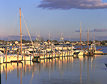 Boats at Dock in Late Afternoon Light, Point Judith Pond, Snug Harbor