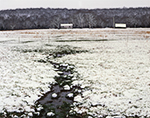 Small Stream in Pasture at Old Homestead after Rare Snowfall, Faulkner County, AR