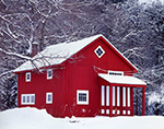 Red Barn with White Trim after Fresh Snowfall, New Salem, MA