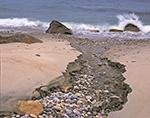 Small Stream Flowing into Ocean at Clay Head Beach, Block Island, RI