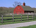 Red Barn and Grey Fences at Gypsy Woods Farm, North Stonington, CT