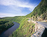 Route 97 along Upper Delaware River in Spring, National Scenic and Recreational River, New York and Pennsylvania State Line, Deerpark, NY