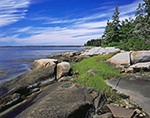 Shoreline at Ned's Point with Blue Sky and Wispy White Clouds, Friendship Long Island, Muscongus Bay, Friendship, ME