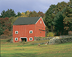 Red Barn in Fall with Field and Stonewalls, Thompson, CT
