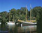"Wooden Gaff-rigged Schooner ""Golden Goose"" and Sailing Ketch ""Jesela"" in Hamburg Cove, Eightmile River, Popular Boating Spot on CT River, Lyme, CT"