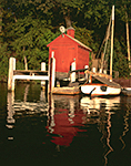 Little Red Dock House and Cat Boat, Connecticut River, Lyme, CT