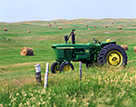 Farm Tractor and Hay Bales, Medina, ND