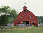 Red Horse Barn with Wooden Fence, North Stonington, CT