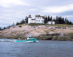 Heron Neck Light and Lobster Boat, Greens Island, Vinalhaven, ME