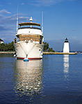 Cruiser and Goat Island Lighthouse, Newport, RI