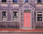 Historic Colonial-style House with Pink Door and Weathered Cedar Shingles, Nantucket Island